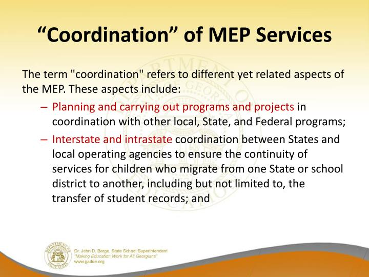 """""""Coordination"""" of MEP Services"""