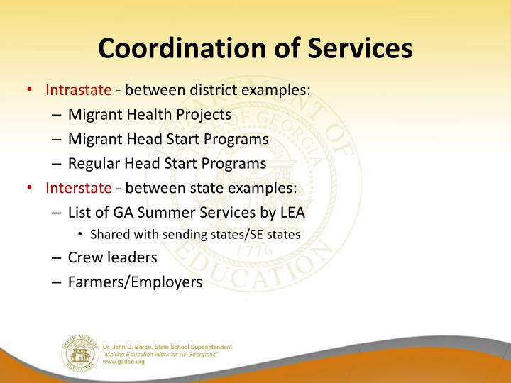 Coordination of Services
