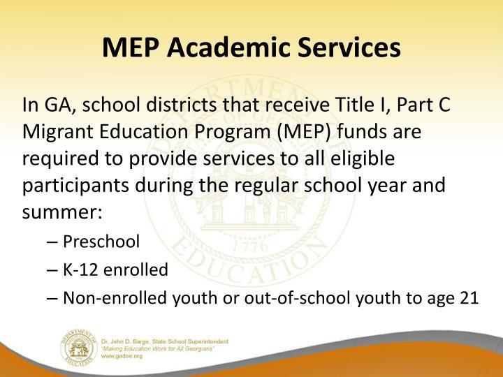 MEP Academic Services