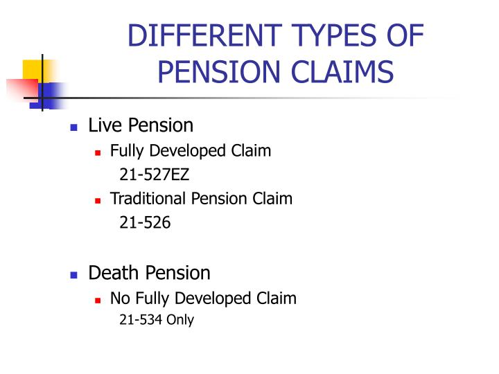 DIFFERENT TYPES OF PENSION CLAIMS