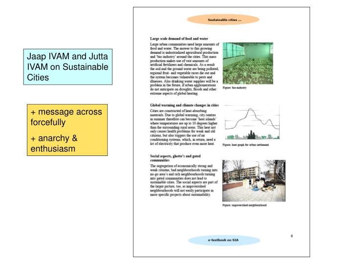 Jaap IVAM and Jutta IVAM on Sustainable Cities
