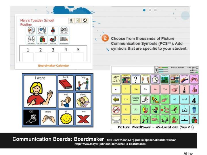 Communication Boards: Boardmaker
