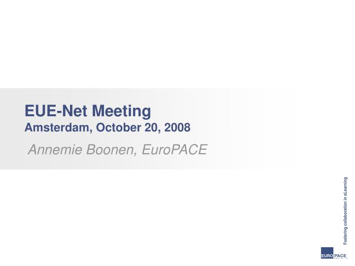 eue net meeting amsterdam october 20 2008 n.