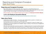 reporting and complaint procedure open door policy