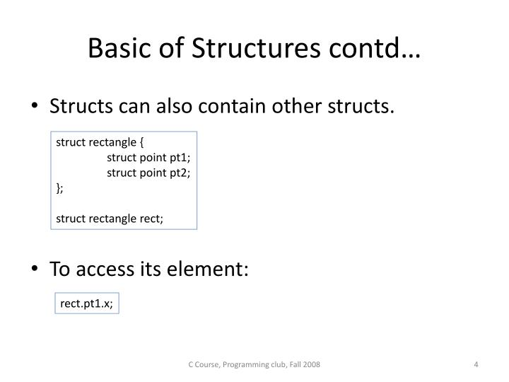 Basic of Structures contd…