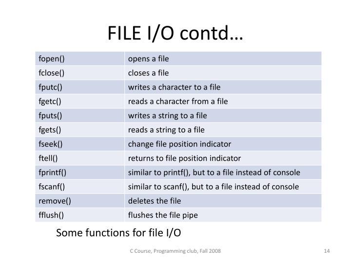 FILE I/O contd…