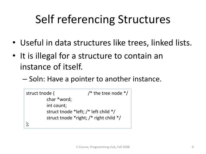 Self referencing Structures