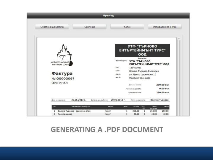 GENERATING A .PDF DOCUMENT