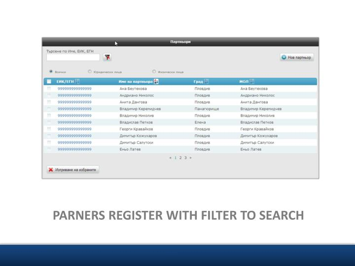 PARNERS REGISTER WITH FILTER TO SEARCH