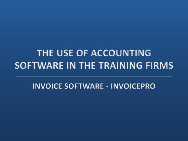 The use of accounting software in the training firms