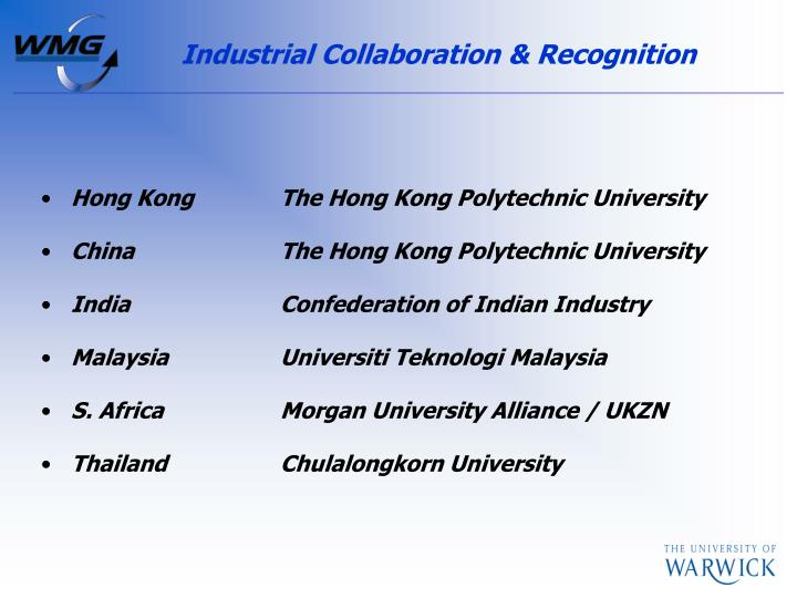 Industrial Collaboration & Recognition
