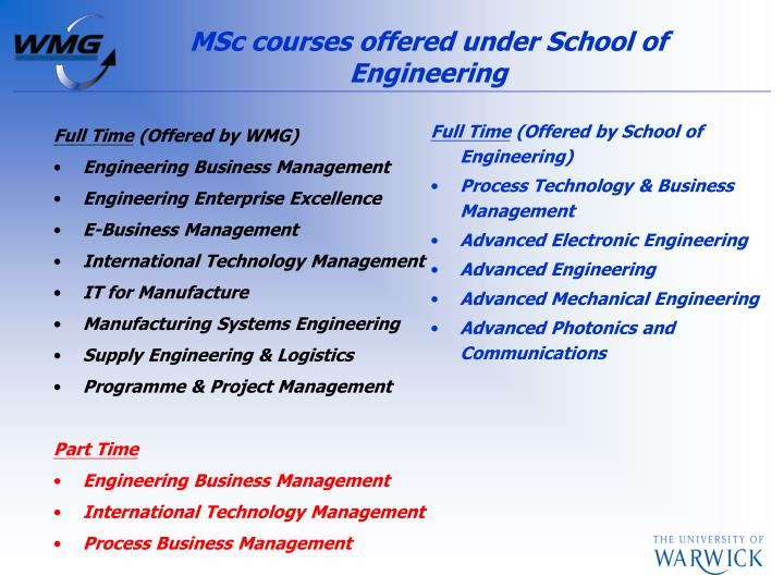 MSc courses offered under School of Engineering