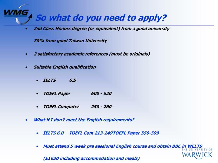So what do you need to apply?