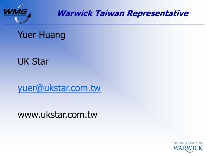 Warwick Taiwan Representative