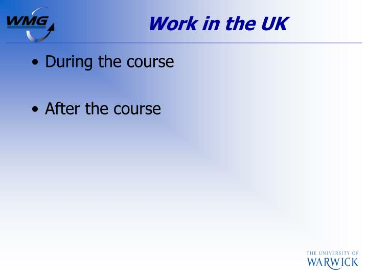 Work in the UK