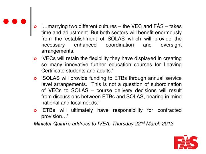 '…marrying two different cultures – the VEC and FÁS – takes time and adjustment. But both sectors will benefit enormously from the establishment of SOLAS which will provide the necessary enhanced coordination and oversight arrangements.'