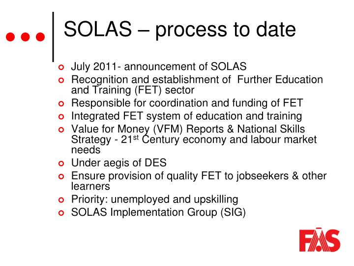 SOLAS – process to date