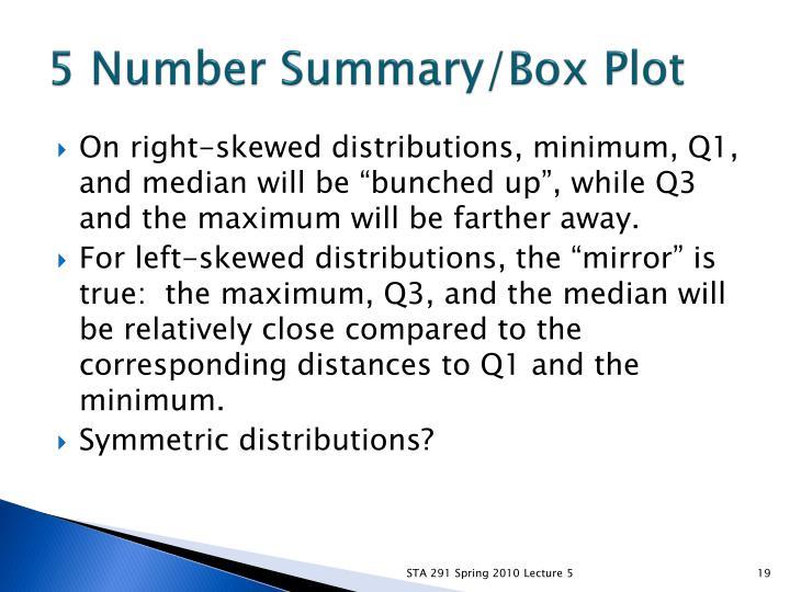 5 Number Summary/Box Plot