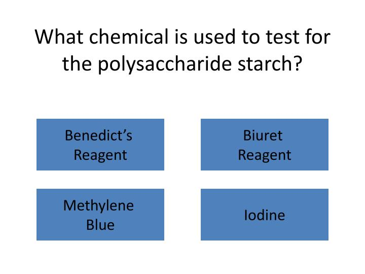 What chemical is used to test for the polysaccharide starch?