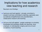implications for how academics view teaching and research