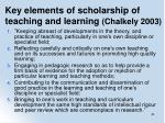 key elements of scholarship of teaching and learning chalkely 2003
