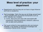 meso level of practice your department