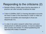 responding to the criticisms 2
