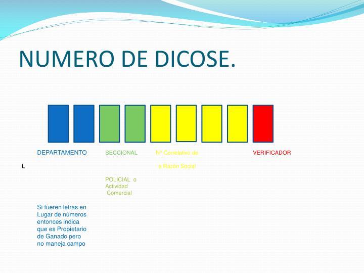 NUMERO DE DICOSE.