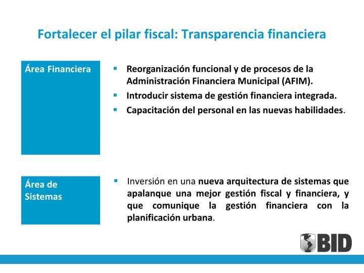 Fortalecer el pilar fiscal: Transparencia financiera