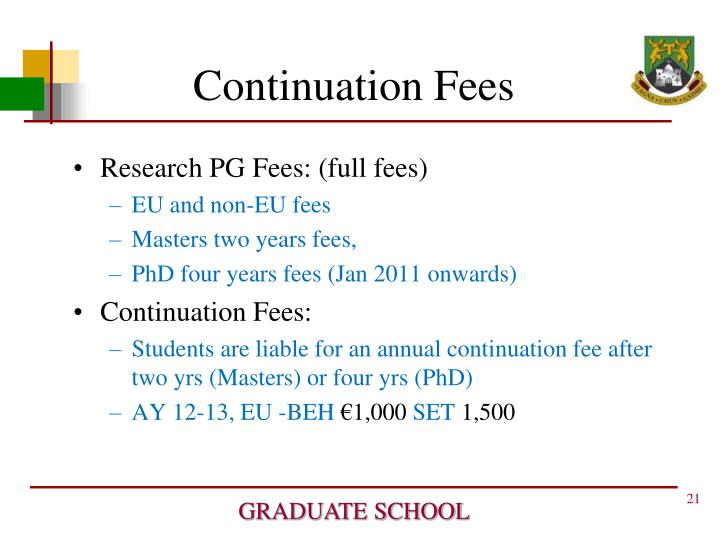 Continuation Fees