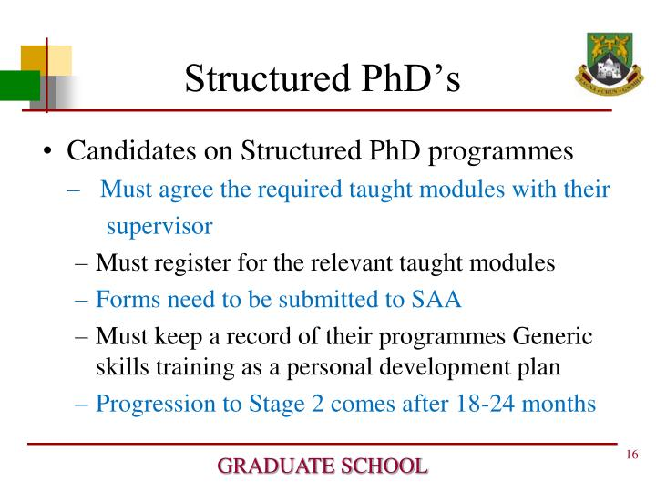 Structured PhD's