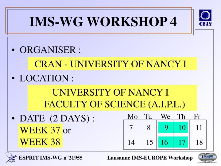 Ims wg workshop 4