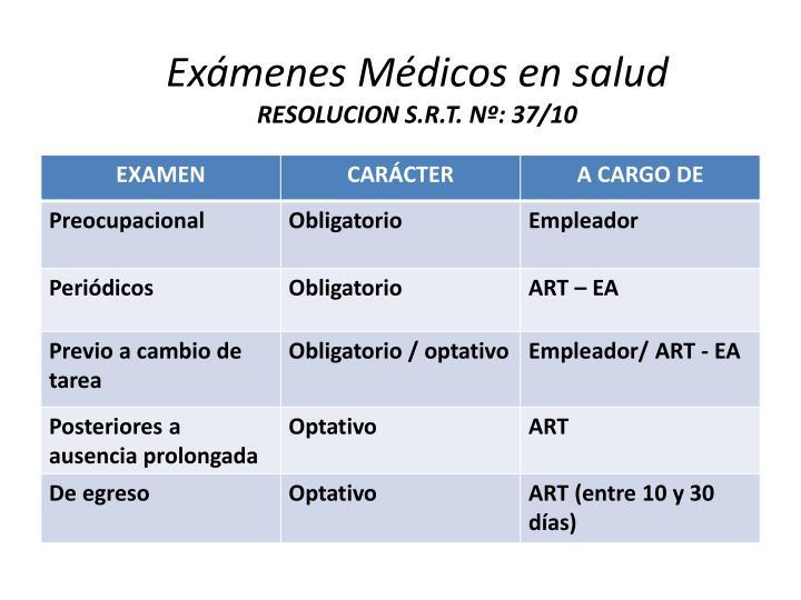 Exámenes Médicos en salud