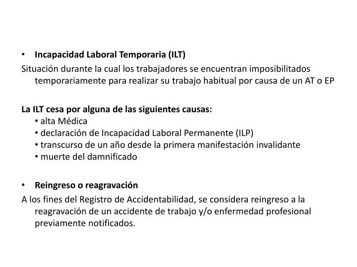 Incapacidad Laboral Temporaria (ILT)