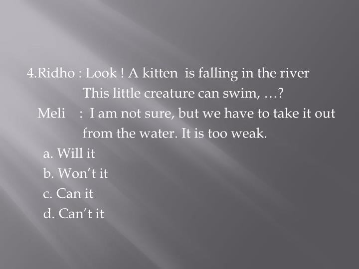 4.Ridho : Look ! A kitten  is falling in the river