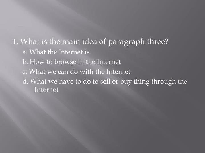 1. What is the main idea of paragraph three?