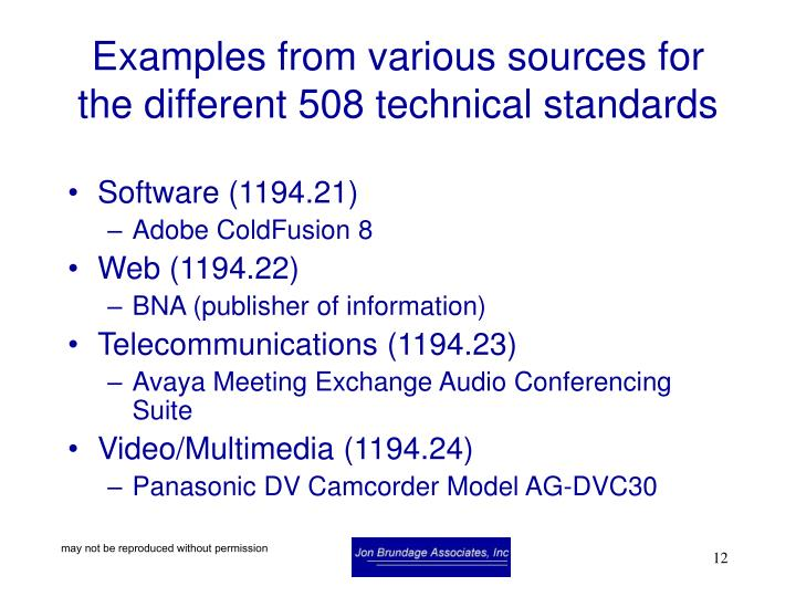 Examples from various sources for the different 508 technical standards