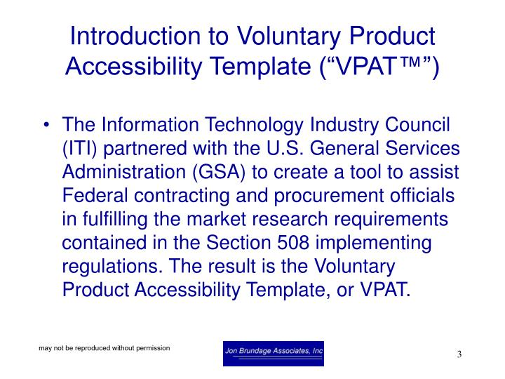 Introduction to voluntary product accessibility template vpat