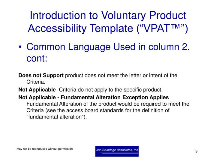"Introduction to Voluntary Product Accessibility Template (""VPAT™"")"