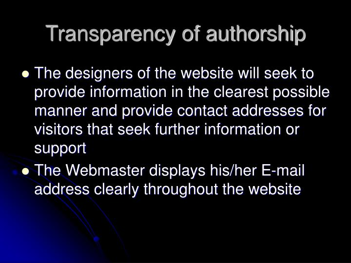 Transparency of authorship