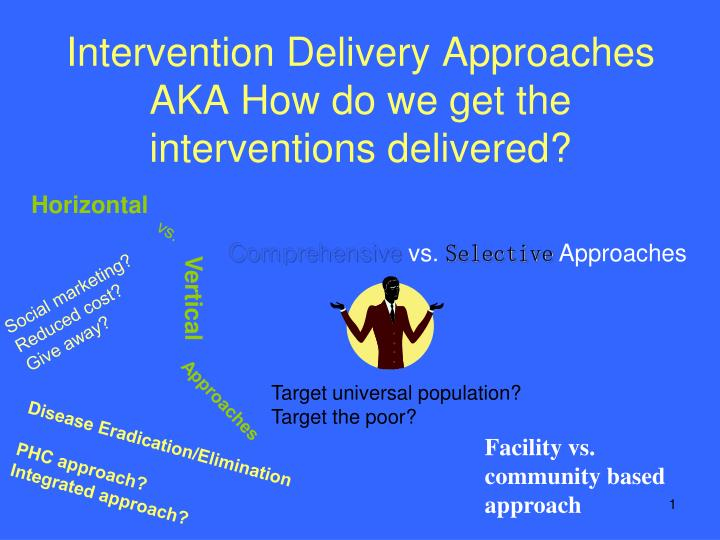 Intervention delivery approaches aka how do we get the interventions delivered