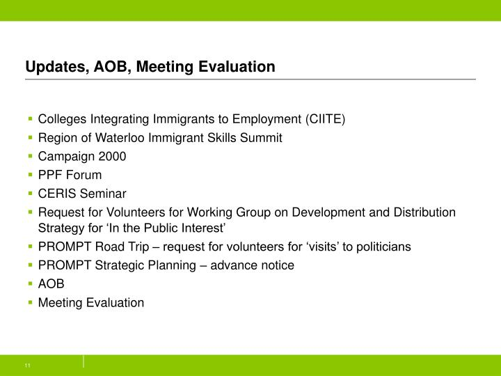 Updates, AOB, Meeting Evaluation