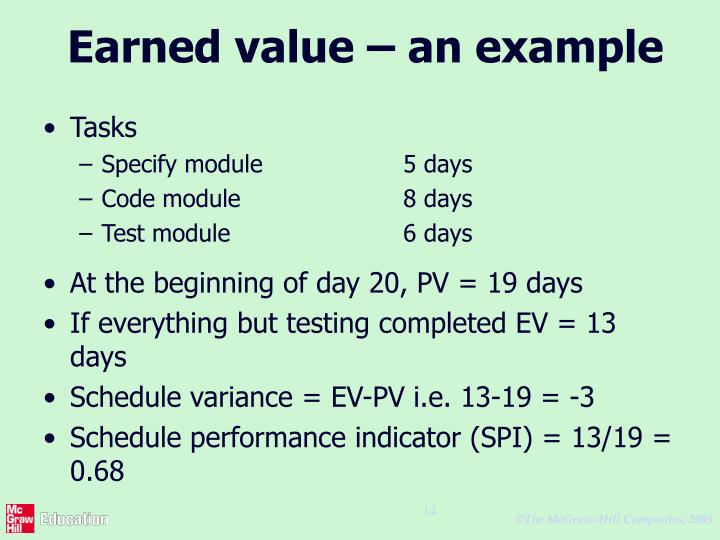 Earned value – an example