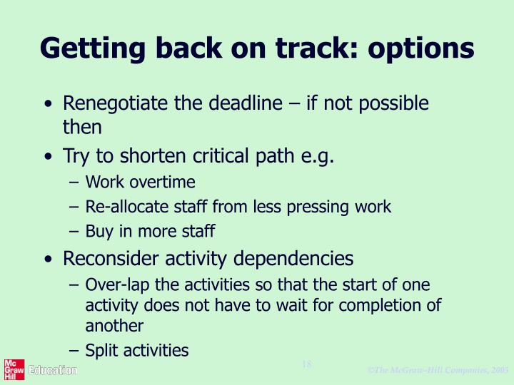 Getting back on track: options