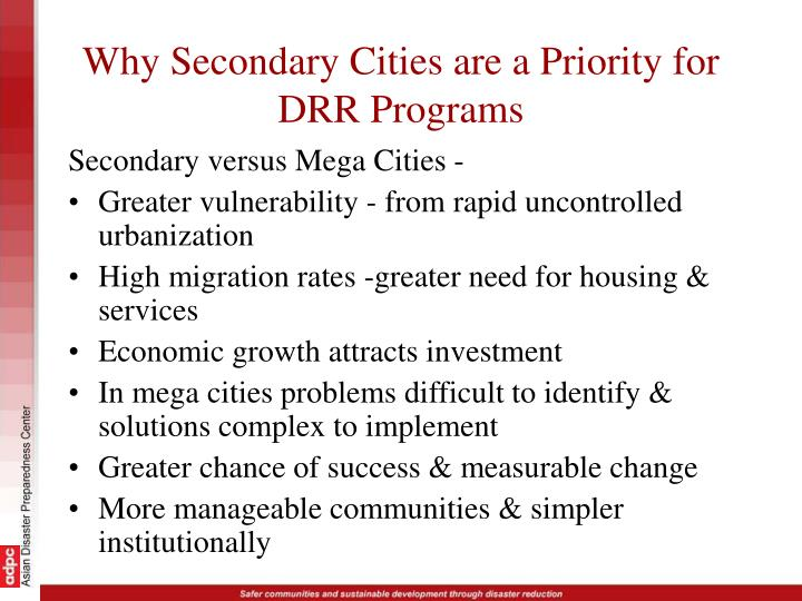 Why Secondary Cities are a Priority for DRR Programs