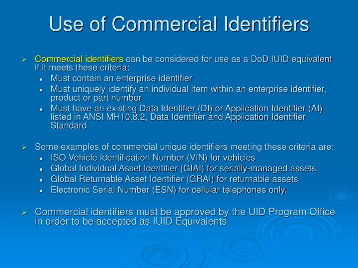 Use of Commercial Identifiers