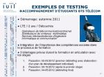 exemples de testing accompagnement d tudiants bts t l com