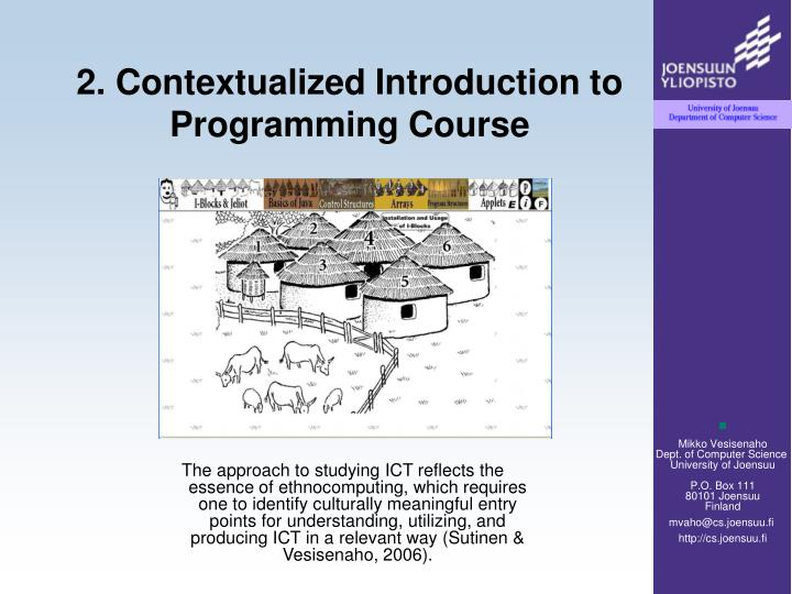2. Contextualized Introduction to  Programming Course