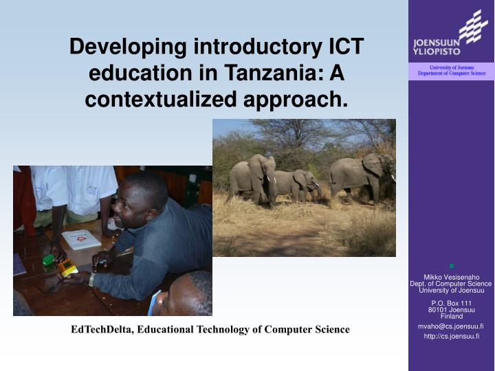 Developing introductory ict education in tanzania a contextualized approach