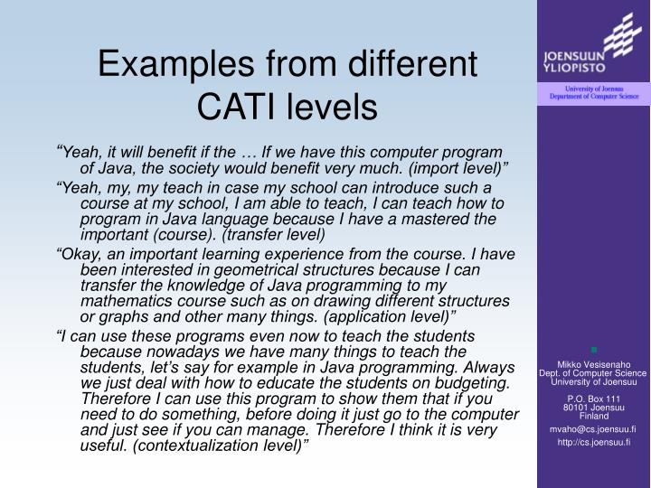 Examples from different CATI levels